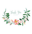 wreath of flowers in romantic white background vector image vector image