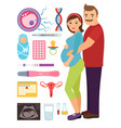 young couple during pregnancy problem vector image