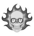 flaming skull icon monochrome vector image