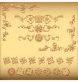 Set of gold floral vintage design elements vector image