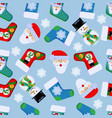 2 happy new year seamless pattern with santa vector image vector image