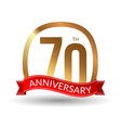 70 years anniversary experience gold label with vector image vector image