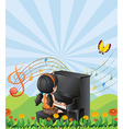 A girl playing with the piano at the hills vector image vector image