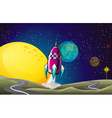 A spaceship in the outerspace near the moon vector image vector image