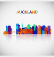 auckland skyline silhouette in colorful geometric vector image vector image