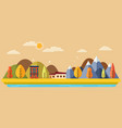 autumn park with city view mountain panorama vector image vector image