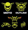 biker emblem logo set vector image