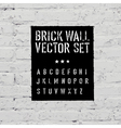 brick wall and stencil alphabet set vector image vector image