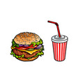 burger soft drink cup sketch set isolated vector image