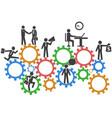 business people teamwork on mechanism gears vector image