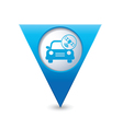 car with satelite icon pointer blue vector image vector image