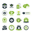cartoon tea badges or labels set vector image vector image