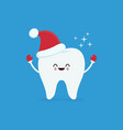 cartoon tooth in santa hat in red mittens vector image