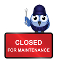 closed for maintenance sign vector image vector image
