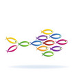 colorful school of fish icon vector image vector image