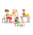 creative mother and son young artists banner vector image vector image