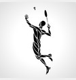 creative silhouette of abstract badminton player vector image