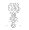 cute cartoon little girl coloring book vector image vector image