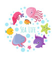 cute cartoon sea life animals isolated on white vector image