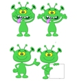 Cute geen alien cartoon collection set vector image vector image