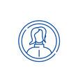 female profile line icon concept female profile vector image vector image