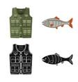 fish and fishing icon set vector image