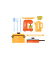 Flat set of kitchen utensils and appliances