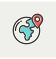 Global with locator thin line icon vector image