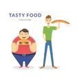 Happy fat and thin men eating a big food vector image vector image