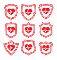 icons protect your heart symbols vector image vector image