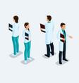 isometric hospital doctor nurse surgeon vector image vector image