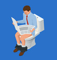 isometric man reading a newspaper seated on a vector image vector image
