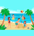 kids beach happy children fun on sea shore sand vector image
