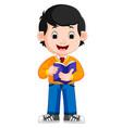kids boy carrying book cartoon vector image vector image
