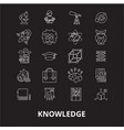 knowledge editable line icons set on black vector image vector image