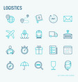 logistics thin line icons set vector image vector image