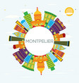 montpelier skyline with color buildings blue sky vector image vector image