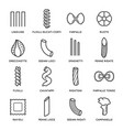 pasta types icon set italian cuisine and cooking vector image