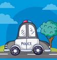 police car on street vector image