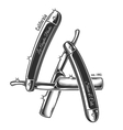 Print of straight razors in letters LA vector image vector image