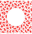 red gift box and snowflake around white circle vector image