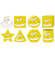 set of yellow monster face shapes vector image