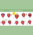 set ten cute kawaii berries raspberries vector image vector image