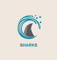 shark fin icon vector image vector image
