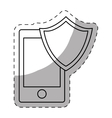 smartphone shield server banner icon vector image vector image