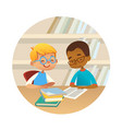 smiling multiracial boys reading books and talking vector image vector image