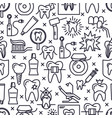 stomatology seamless pattern in thin line style vector image