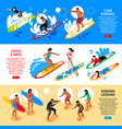 surfing isometric horizontal banners vector image vector image