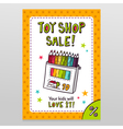 Toy shop sale flyer design with box of colored vector image vector image