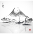 Two fishing boats and Fujiyama mountain vector image vector image